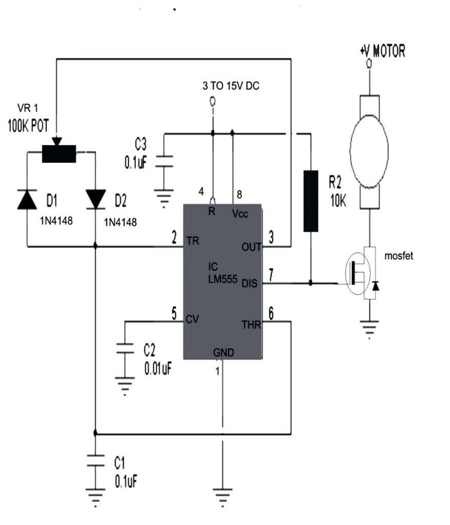 IC555 motor speed controller