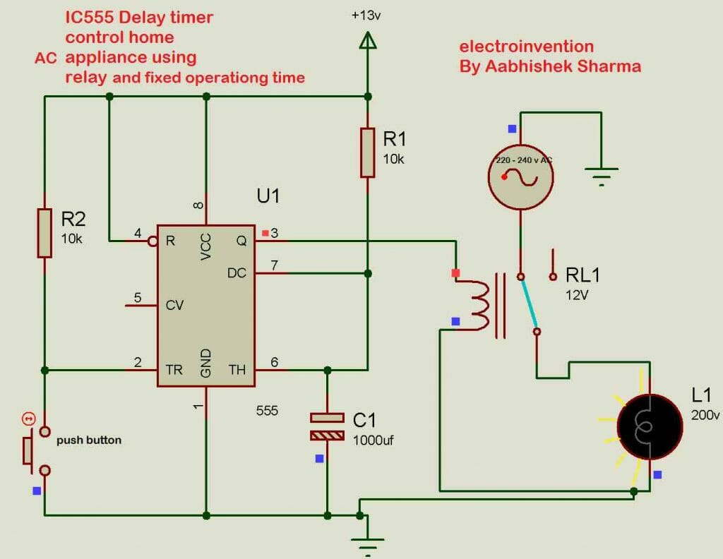 Ic555 Delay Timer For Controlling The On Off Time Of Ac Devices
