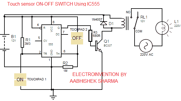 TOUCH ON-OFF SWITCH CIRCUIT