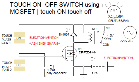 Touch on touch off switch circuit