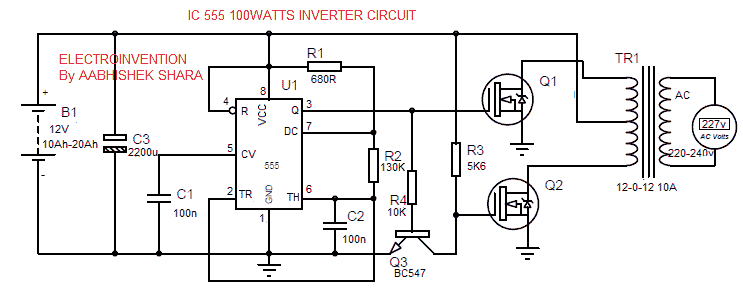 Simple 100watt inverter circuit
