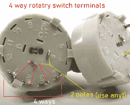 rotary switch terminals ic555 timer alarm circuit