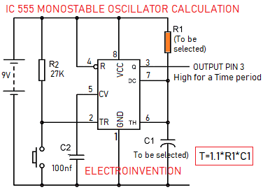 IC555 Monostable oscillator circuit
