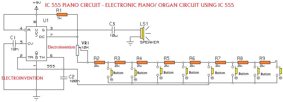 mini piano using ic 555